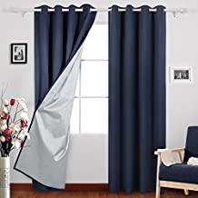 Deconovo Thermal Insulated Grommet Blackout Curtains with Backside Silver Backing for Living Room, 52x95 Inch, Navy Blue, Two Panels