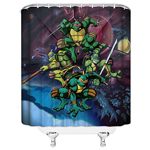 AMHNF Shower Curtain Ninja Turtles Theme Cartoon Creative Simple Cool Dark Universe Personality 70 X 70 inch Home Polyester Fabric Waterproof Bathroom Accessories Hanging Curtains]()