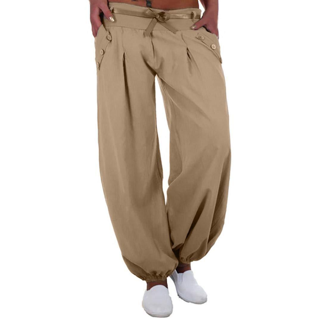 HLHN Women Harem Trousers Wide Leg Boho Plus Size Yoga Pants Baggy Casual High Waist