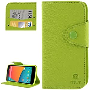 Cross Texture Leather Case with Credit Card Slot & Holder for Google Nexus 5 / E980 (Green)