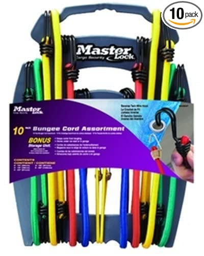 10-Pack Master Lock 3043DAT Twin-Wire Bungee Cords with Organizer