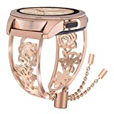 VIGOSS Metal Bracelet Compatible with Galaxy Watch 42mm Bands Rose Gold Women 20mm Luxury Stainless Steel Jewelry Floral Hollow Bangle for Samsung Galaxy Watch 42mm R810/Galaxy Watch Active 40mm R500