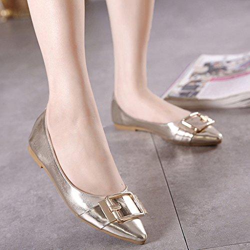 Maybest Womens Paillettes Métalliques Classiques Pointu Toe Ballet Slip Sur Chaussures Plates Or