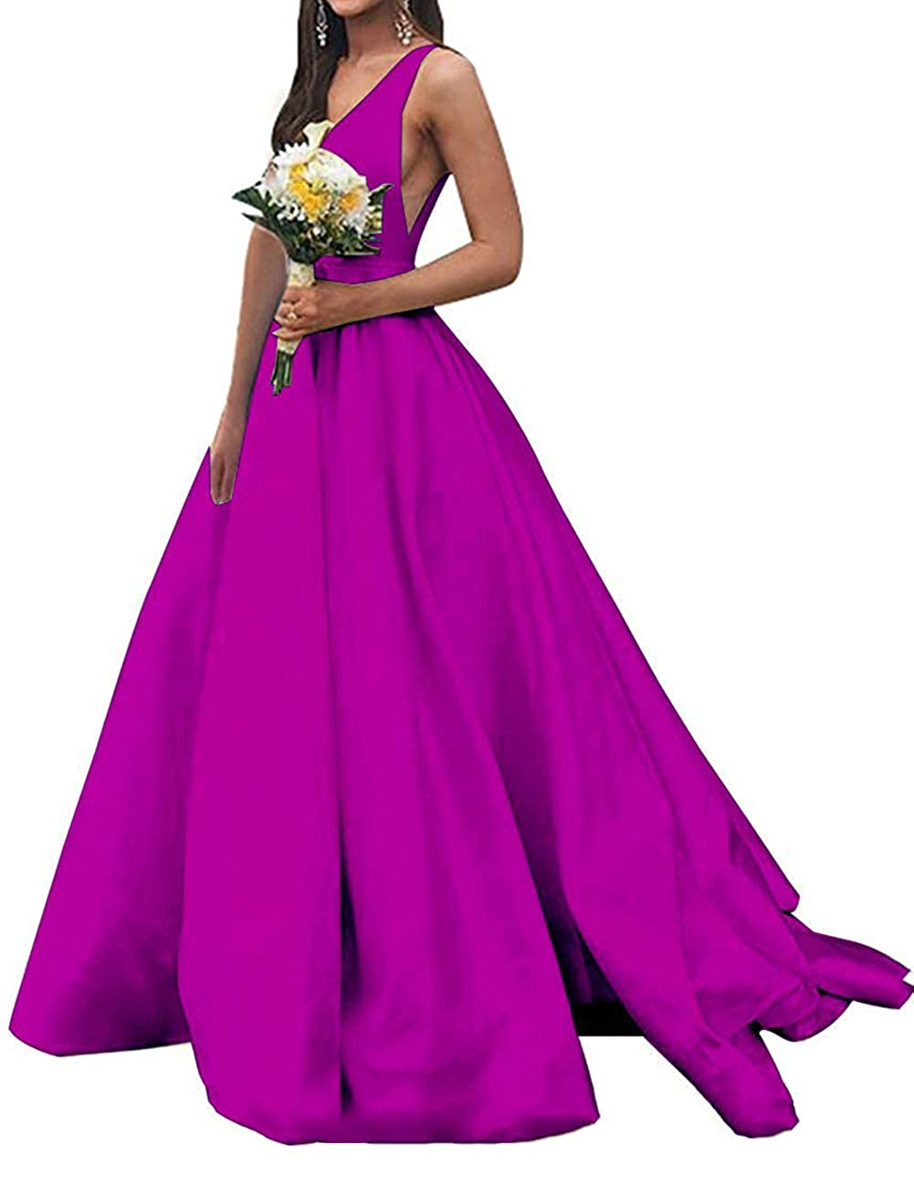 Fushcia JAEDEN Prom Dresses Formal Evening Gowns Long Evening Dresses V Neck Satin Prom Gowns Sleeveless