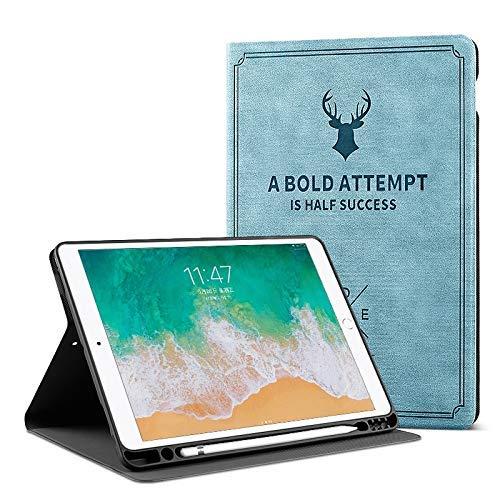 ProElite Smart Deer Flip case Cover for Apple iPad Mini 4/ Mini 5  7.9 inch  with Pencil Holder  Light Blue