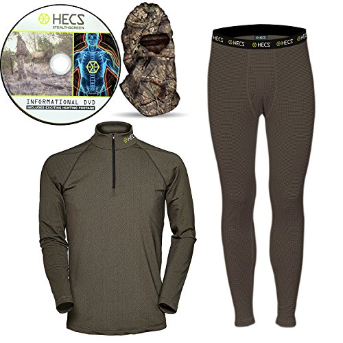 HECS Suit Turkey Base Layer Hunting Clothing with Human Energy Concealment Technology – Thermal 3 Piece Shirt, Pants, Headcover – High Performance Lightweight Breathable Wicking Fabric | Large