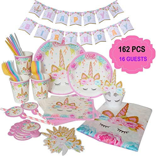 Ultimate Unicorn Plates and Supplies for Birthday Party | Best Value 162 Decorations Item Set That Give Everything You Need To Make a Long Lasting Magical Memorable Parties For Your Little Princess by ecoZen Lifestyle