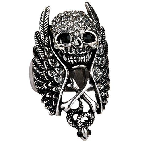Stephenie Jewelry Wing Skull Cross Snake Stretch Crystal Rings for - Ring Crystal Skull