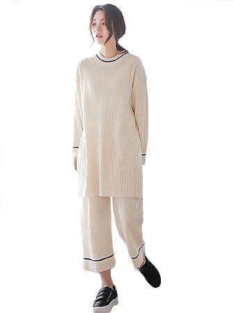 mujer puro algodón 2 piezas largo conjunto de pijamas suave casual casa ropa de dormir,