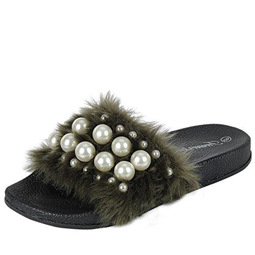 Per Sempre Link Izzy-33 Da Donna Open Toe Faux Pearl Impreziosito Da Infradito Sandalo Piatto Sandalo Pantofole Oliva
