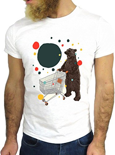 T-SHIRT JODE GGG24 Z0719 BEAR FUN COOL VINTAGE ROCK FUNNY FASHION CARTOON NICE AMERICA BIANCA - WHITE XL