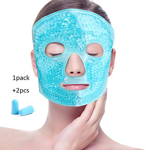 Eye Blue Mask Gel (Face Eye Mask Ice Pack with Foam Earplugs,Reduce Puffiness, Bags Under Eyes, Puffy Dark Circles,Hot/Cold Pack with Soft Plush Backing for Woman Sleeping, Pressure, Headaches, Skin Care [Blue])