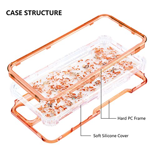 iPhone 6s Plus Case, HianDier Clear Glitter iPhone 6/6s Plus Protective Gel Case Pearl Foil Embedded Cute Case Shock Absorption Bumper Soft TPU Cover Case for iPhone 6 Plus & 6s Plus - Rose Gold by HianDier (Image #1)
