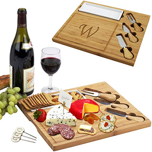 Picnic at Ascot Personalized Engraved Bamboo Cheese Board/Charcuterie Plate with 3 Cheese Knives, Ceramic Dish, and Cheese Markers - Designed in the USA - Letter - W