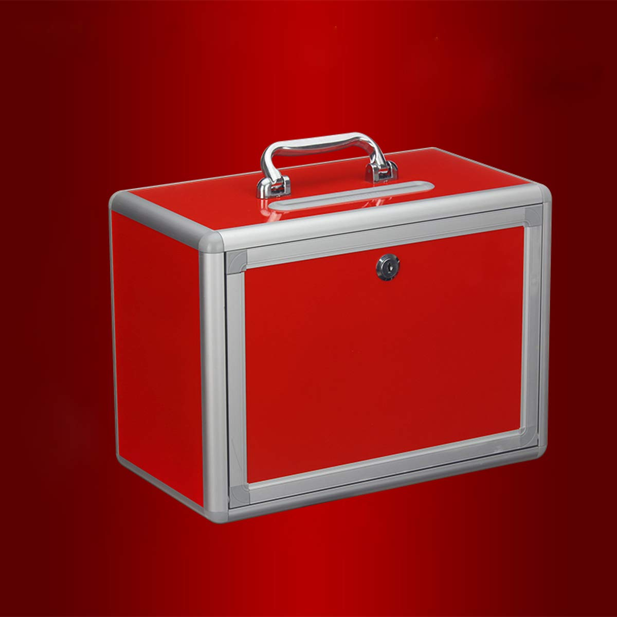 Caja roja Buz/ón de sugerencias port/átil con cerradura caja de donaci/ón de elecci/ón de donaci/ón de quejas urna de escritorio,caridad caja de recolecci/ón