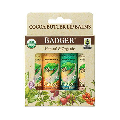 Badger Cocoa Butter Lip Balm – Set Creamy Cocoa, Sweet Orange, Vanilla Bean, and Cool Mint