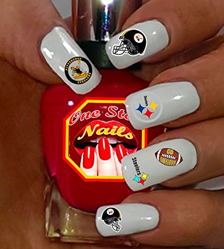 Steelers water-slide nail decals (tattoos) V1. Set of 69. (OSN1) -