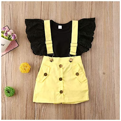 Toddler-Baby-Girl-Clothes-Solid-Black-Lace-Fly-Sleeves-T-Shirt-TopSuspender-Button-Down-Skirt-Shorts-Princess-Dress-Set