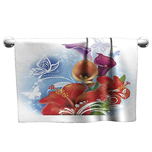 (clayee Floral Hand Towels Bouquet of red Hibiscus and Calla Flowers,Hand Towel for Bathroom)