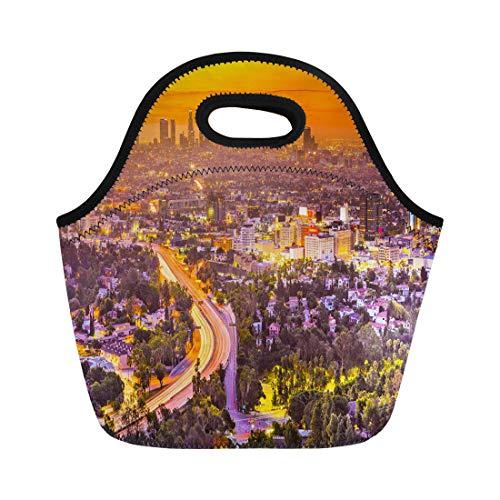 Semtomn Lunch Tote Bag Cityscape Los Angeles California Usa Skyline Boulevard Hollywood Sunset Reusable Neoprene Insulated Thermal Outdoor Picnic Lunchbox for Men -