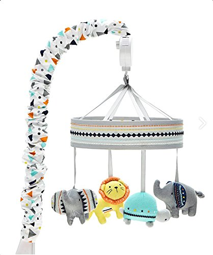Wendy Bellissimo Baby Mobile Crib Mobile Musical Mobile - Whale Bear Elephant in Grey Turquoise Pink White and Navy