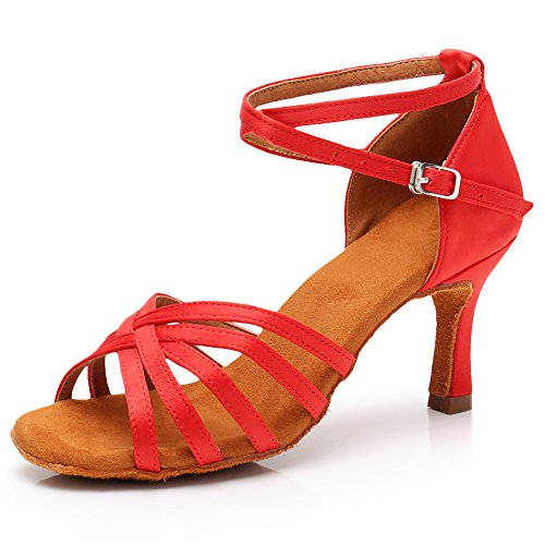 Women Dance Shoes Performance 75inch Latin Satin 213 Heels Salsa Shoes LP HROYL Dance 2 Ballroom Red pwdpt