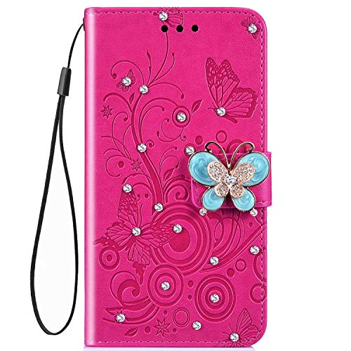- IKASEFU Shiny butterfly Rhinestone Emboss Floral Pu Leather Diamond Bling Wallet Strap Case with Card Holder Magnetic Flip Cover Compatible with Samsung Galaxy J6 Plus,Rose Red