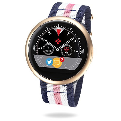 MyKronoz ZeRound2 HR Premium Smartwatch with Heart Rate Monitoring and Smart Notifications, Swiss Design, iOS and Android - Brushed Pink Gold / Pink White Blue Nato Band by MyKronoz