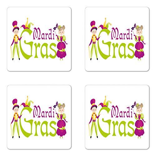 Lunarable Mardi Gras Coaster Set of Four, Sweet