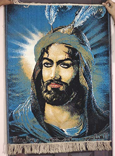 (5billion Vintage Gulf Persian Historical Hero on Wool Carpet Tapestry Wall Hanging Wall Carpet Beautiful Well Condition 39