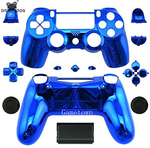 Superior Quality Full Housing Shell Cover Case Protective Hard Skin Kits for Sony Playstation 4 PS4 Dualshock 4 Wireless controller-Chrome Blue