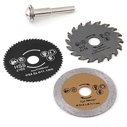 Circular Saw Blade,3pcs 54.8mm HSS Mini Wood Circular Saw Blade Cutting Blade Rotary Tool+Mandrel