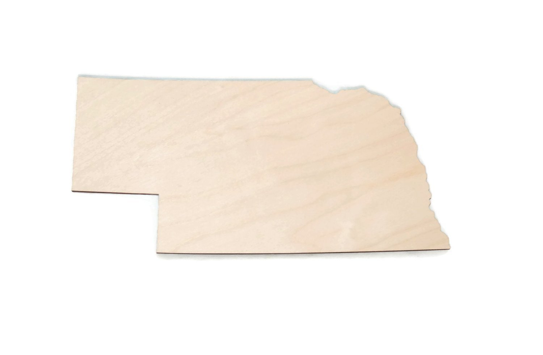 "Gocutouts Nebraska State 12"" Cutout Unfinished Nebraska Wood/Wooden Baltic Birch 1/4"" Cutout DIY Home Decor USA Made (Nebraska)"