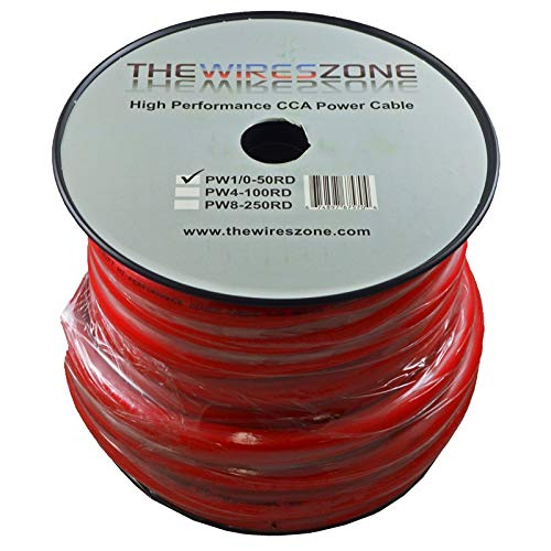 0 Gauge 50 Feet Wire 1//0 AWG High Performance Flexible Amplifier Power Cable The Wires Zone PW1//0-50RD Red