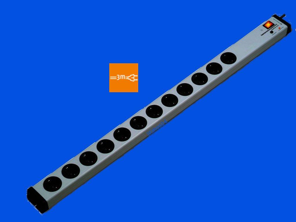 VARIO LINEA 12-Fach-Steckdosenleiste mit Ü berspannungsschutz + Netzfilter + Zentral-Hauptschalter | mit 3 m-Zuleitung-Kabel Bodo Ehmann GmbH for JKshop24 0207x00122303