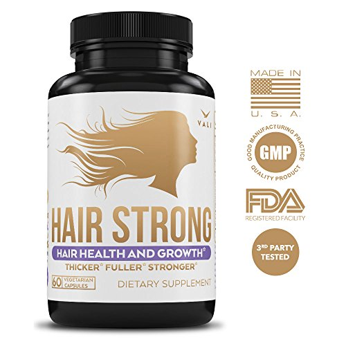 Hair Health Growth Vitamins with Biotin & Keratin 60 Veggie Capsules. Extra Strength Supplement for Longer Stronger Hair, Skin, & Nails. For Women & Men For Damaged, Thinning & Hair Loss Regrowth