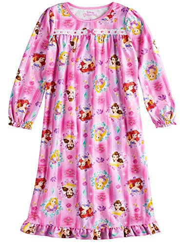 Disney Princess Girls Long Sleeve Flannel Granny Gown Nightgown Pajamas (8, Pink)