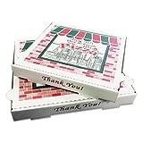 Pratt PRA1310 Pizza Box, B-Flute, Oven Fresh Pizza Print, 1 7/8'' Deep, 10'', White/Kraft (Pack of 50)