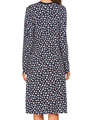 Dress Print Belt Split Beyove Midi Women's V Floral Sexy Party blue with Faux Wrap Neck B APwFx