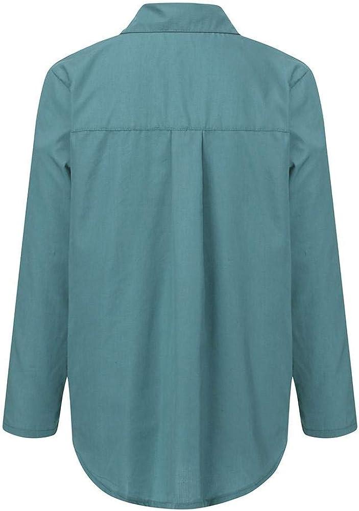 VECDY Camisa Casual De Manga Larga para Mujer Bolsillos con Cuello ...