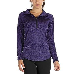 icyzone Women's Workout Yoga Track Jacket 1/2 Zip Long Sleeve Running Shirt(L,Purple)