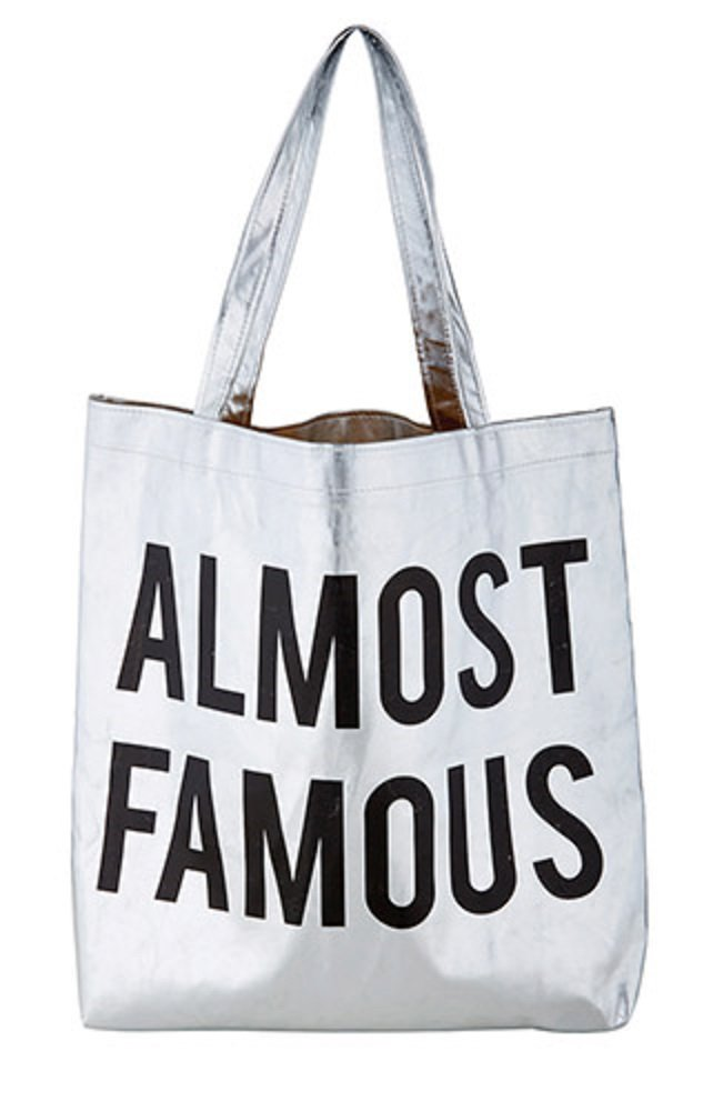Pack of 2 Almost Famous Silver Tote Bags. 16'' X 14.5''.