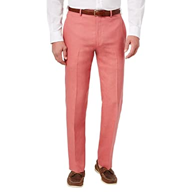 RALPH LAUREN Lauren by Men\u0027s Solid Linen Flat Front Dress Pants (32x32, ...