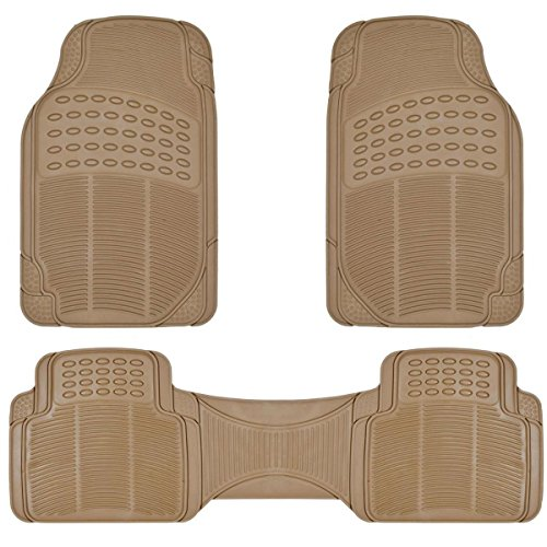BDK ProLiner Heavy Duty Rubber Floor Mats for Auto - All Weather Protection Liners 3 PC Set (Tan Beige)