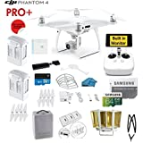 DJI Phantom 4 PRO Plus Quadcopter Drone with 1-inch 20MP 4K Camera KIT with Built in Monitor + 2 DJI Batteries + 64GB Micro SDXC Card + Reader 3.0 + Prop Guards + Range Extender + Charging Hub