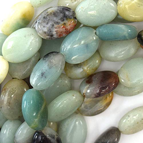 14mm Multicolor Blue Amazonite Flat Oval beads 15'' Strand