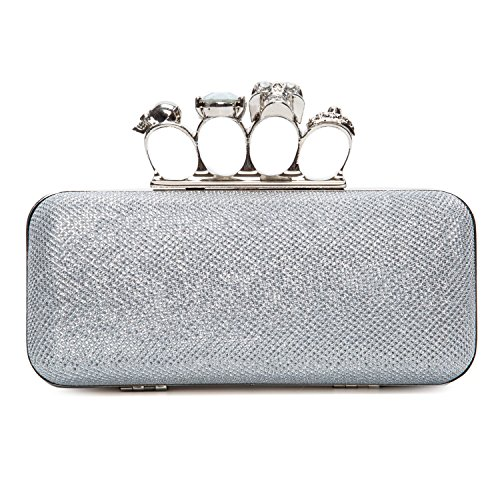 Chichitop Women's Glitter Metallic Duster Four Ring Knuckle Clutch Evening Purse with Rhinestones,Silver