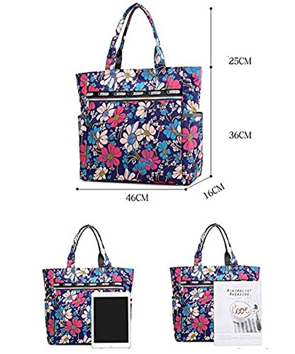 Ibeliver Nylon Large Lightweight Tote Bag Shoulder Bag for Gym Hiking Picnic Travel Beach Waterproof Tote Bags (Gorgeous FLower) by Ibeliver (Image #6)