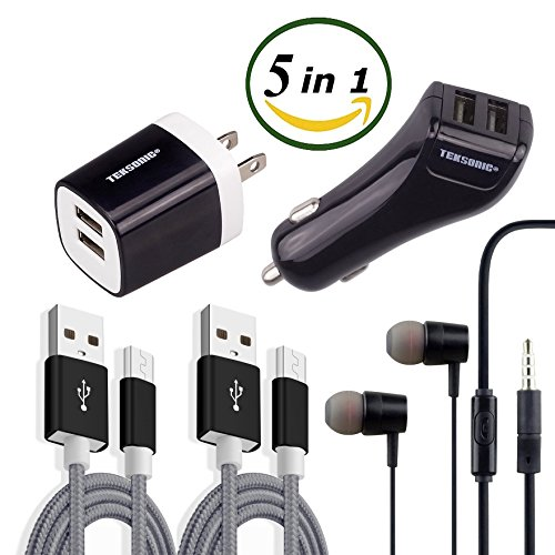 TekSonic [5 in 1] Charger Bundle with Dual 2.1 Amp Wall Charger, Dual Car Charger, 2 Braided 3.3ft Micro USB cable charge sync cords and Earphones - Accessory Kit for Android, Samsung, LG, HTC by tekSonic