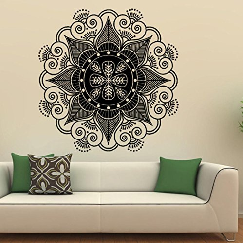 Wall Sticker, Fheaven Mandala Indian Flower Home Vinyl Mural Wall Decal Art Stickers for Bedroom,Living Room,Dining Room (Black)
